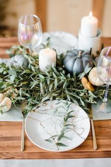 Réglage de la table d'halloween ou de thanksgiving