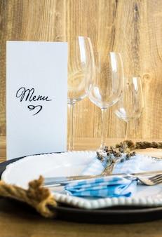 Réglage de la table avec menu