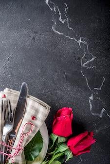 Réglage de la table de la saint-valentin