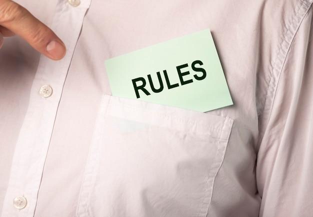 Règles de mot, concept de réglementation et directive, gestion.