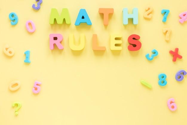 Règles et nombres mathématiques et scientifiques simples
