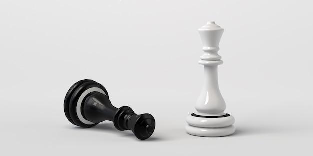 La reine blanche des échecs gagne le noir. isolé sur blanc.