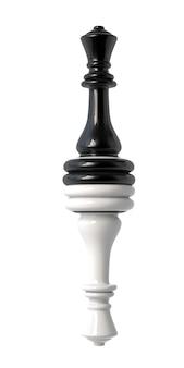 Reine des échecs noir et blanc à l'envers. isolé sur fond blanc. illustration 3d.