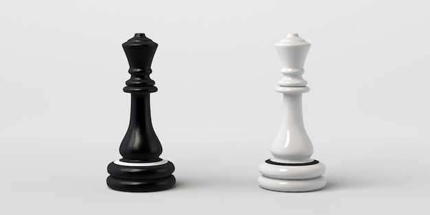 Reine d'échecs noire et blanche se faisant face. isolé sur fond blanc.