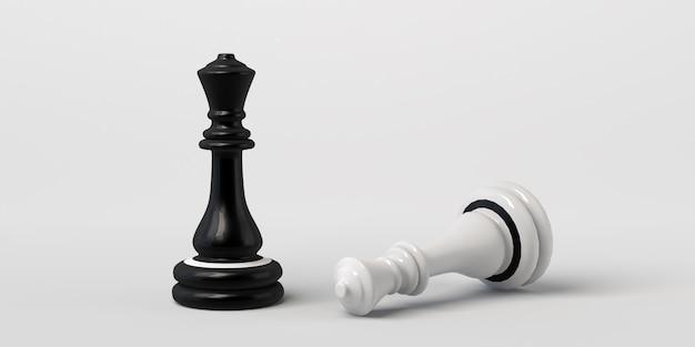 La reine noire des échecs gagne les blancs. isolé sur blanc.
