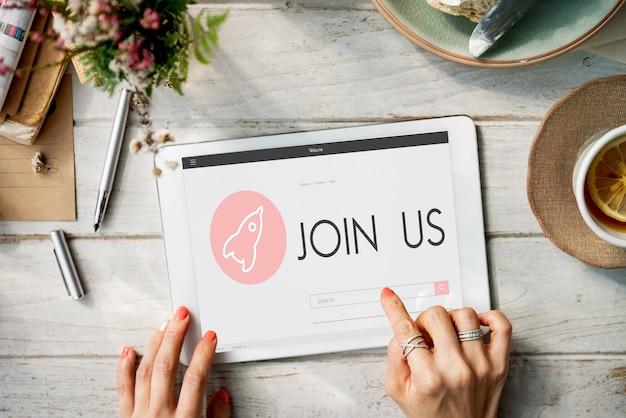 Rejoignez-nous nouveau concept de plan de lancement d'entreprise