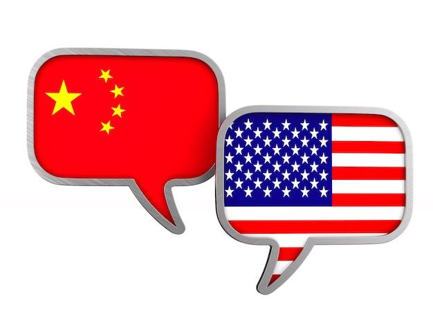 Relation entre l'amérique et la chine sur blanc