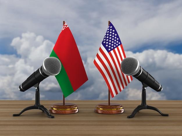 Relation entre la biélorussie et l'amérique. illustration 3d