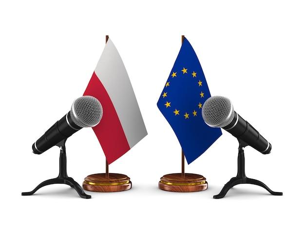 Relation entre la pologne et la ce sur fond blanc. illustration 3d isolée