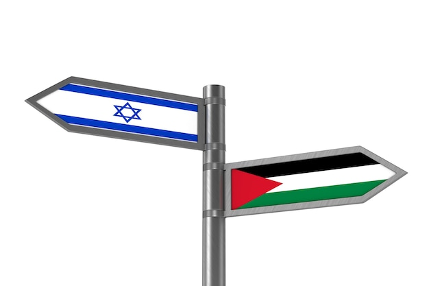 Relations entre israël et la palestine. illustration 3d