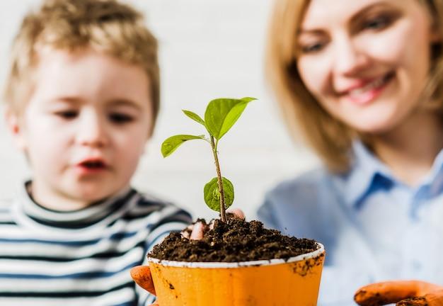 Relations de famille. mère avec petit fils plantant une fleur. soin des plantes. découverte et enseignement du jardinage.