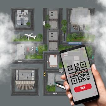 Remettre un énorme code gr fabriqué à partir d'une ville et payer des achats en ligne avec une application mobile