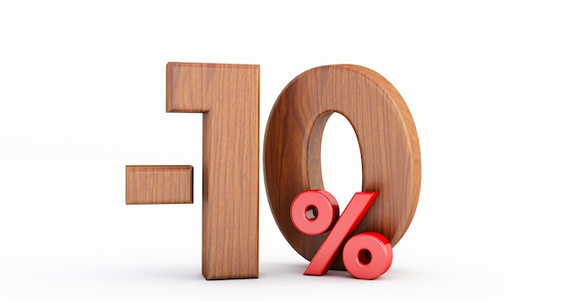 Remise de 10 pour cent. bois moins dix pour cent (-10%) isolé sur fond blanc,
