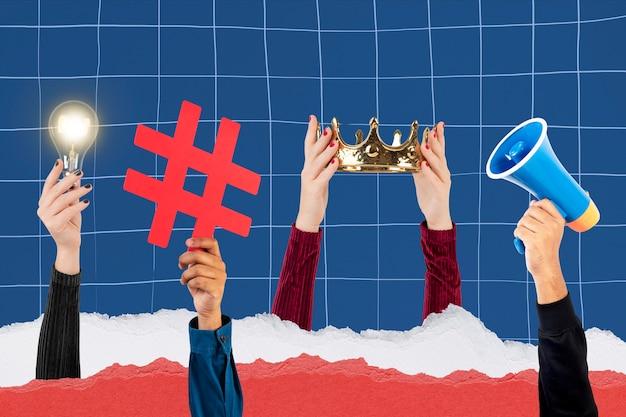 Remix de campagne de médias sociaux d'ampoule d'idée de marketing