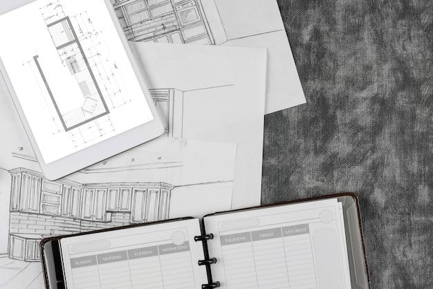 Le remodelage architectural personnalisé sur le projet de cuisine fait de la cuisine un processus de dessin de plan de conception