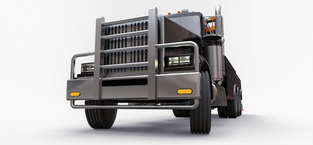 Remorque cargo noire pour transporter d'autres gros camions ou diverses machines lourdes. rendu 3d.