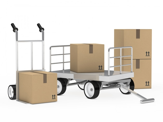 Remorque et chariot avec des boîtes en carton