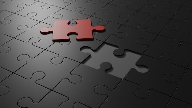 Remplir le dernier puzzle rouge de pièce maîtresse rendu 3d