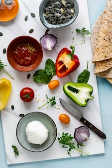 Remplissage pour tortilla wraps photographie alimentaire