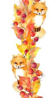 Renard mignon, feuilles rouges, baies, bordure d'automne. cadre aquarelle