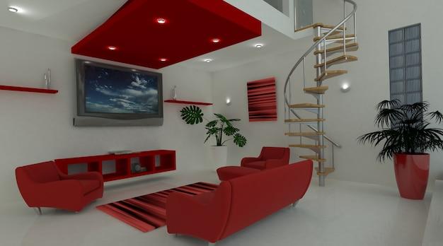 Rendement 3d d'un espace intérieur intérieur contemporain