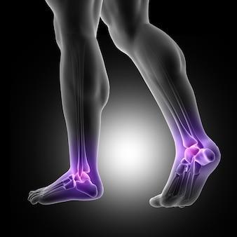 Rendement 3d d'une figure masculine avec des pieds rapprochés avec des articulations de la cheville soulignées