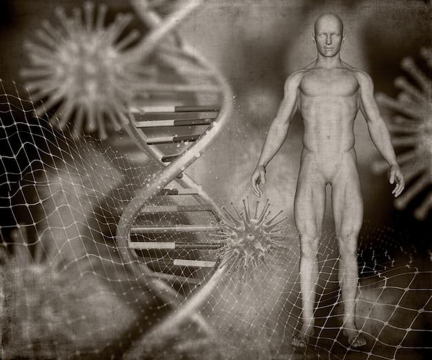 Rendement 3d d'une image médicale de style grunge avec une figure masculine, des brins d'adn et des cellules de virus