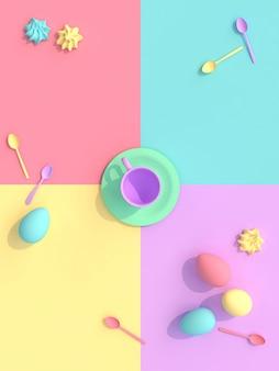 Renderback 3d d'une tasse avec des bonbons et des œufs, plat style laïc