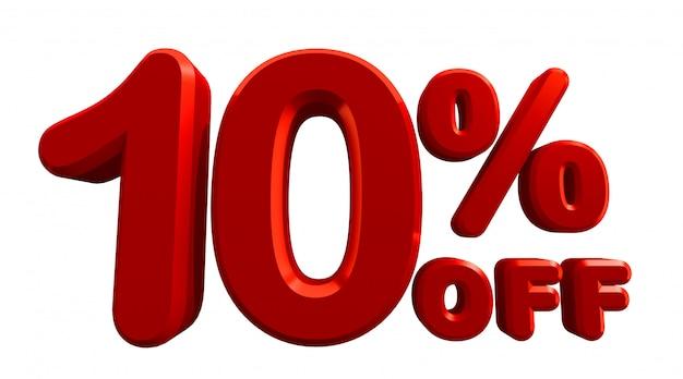 Rendu 3d de 10 pour cent de réduction en blanc