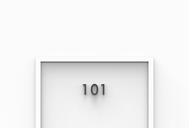 Rendu 3d. 101 numéro de chambre sur porte blanche sur simple mur blanc.