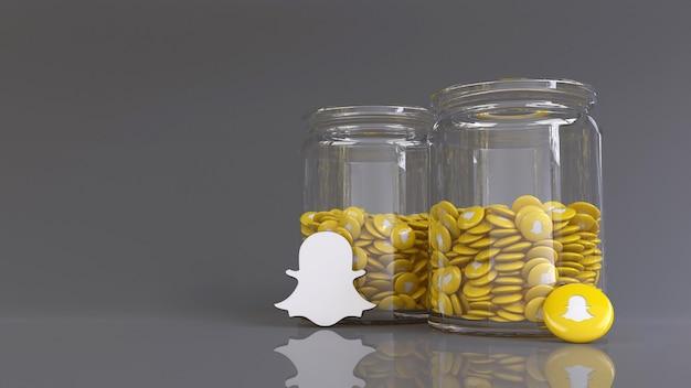 Rendu 3d de 2 bocaux en verre remplis de beaucoup de badges snapchat brillants