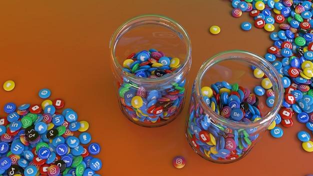 Le rendu 3d de 2 bocaux en verre remplis de pilules brillantes de réseau social les plus populaires sur fond coloré