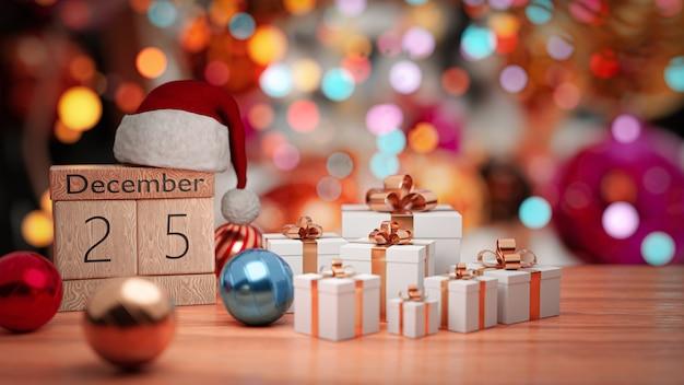 Rendu 3d. 25 décembre, belle date de mur de noël sur le calendrier de bloc en bois.
