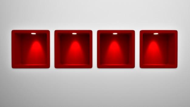 Rendu 3d de 4 étagères de niche arrondies rouges vides dans le mur