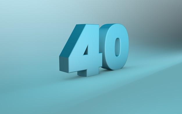 Rendu 3d de 40 nombre lettrage 3d quarante nombre