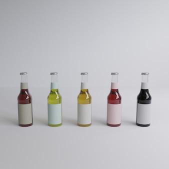 Rendu 3d 5 bouteilles d'eau en verre avec des étiquettes blanches