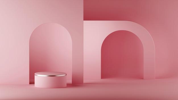 Rendu 3d, abstrait architectural minimal, niche en arc, salle. podium de cylindre vide, socle vacant, scène ronde, support de vitrine, plate-forme d'affichage de produit vierge. copiez l'espace. p