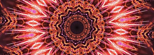 Rendu 3d abstrait bannière de mandala de symbole d'art graphique rouge. illustration 3d rose rouge dégradé kaléidoscope fond concept texture transparente éléments décoratifs pour page web, toile de fond de bannières.