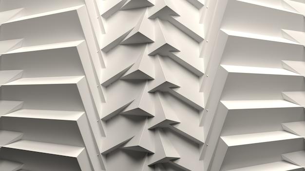 Rendu 3d abstrait blanc composition fond papier peint motif géométrique formes lumière éclairage b