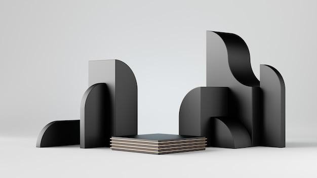 Rendu 3d abstrait blocs noirs isolés sur fond blanc