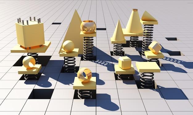 Rendu 3d abstrait carré géométrique jaune. motif carré jaune minimaliste futuriste avec une lumière douce et des ombres