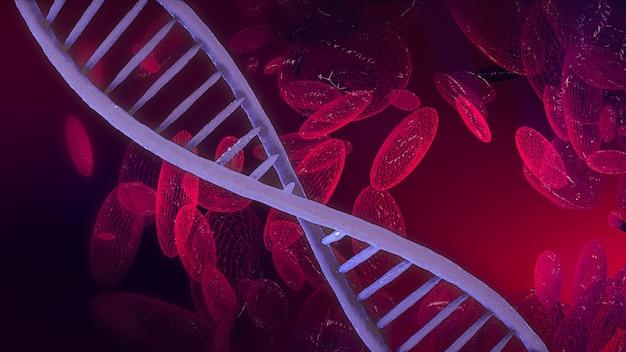 Rendu 3d abstrait de cellules sanguines adn sur fond scientifique