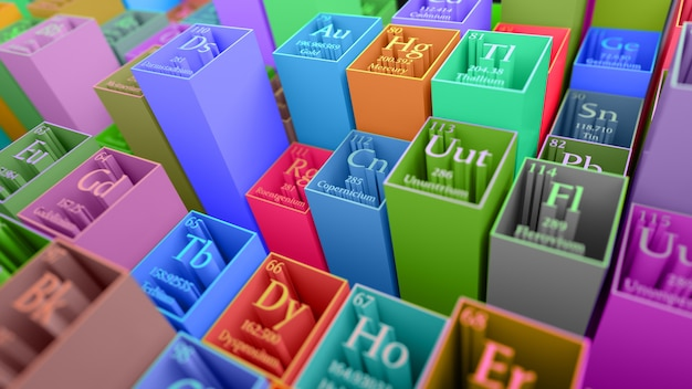 Rendu 3d abstrait chimique. tableau périodique des éléments. fragment de table de mendeleev.