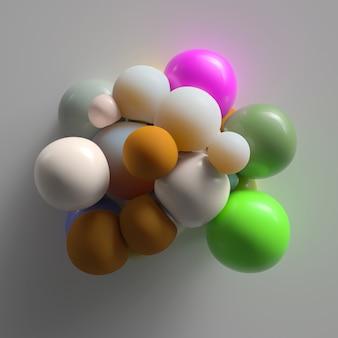 Rendu 3d abstrait coloré avec des sphères déformées lumineuses. parfait pour les diapositives de présentation de beauté ou de mode.