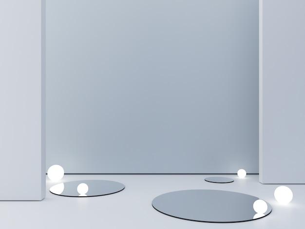 Rendu 3d, abstrait cosmétique pour montrer un produit. scène vide avec miroir cylindrique et lampes sphériques au sol.