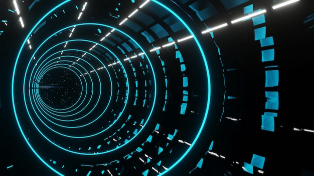 Rendu 3d abstrait couloir bleu futuriste avec fond de néons