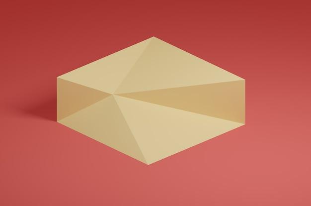 Rendu 3d abstrait cube rouge