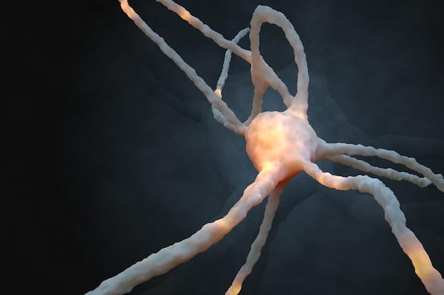 Rendu 3d abstrait avec élément de type neurone avec des zones lumineuses sur fond sombre.