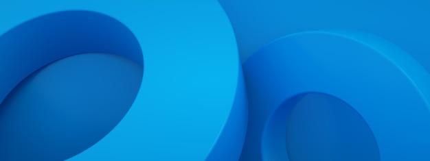 Rendu 3d abstrait, éléments géométriques modernes, conception graphique avec des cercles sur fond bleu, image panoramique