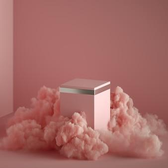 Rendu 3d abstrait fantaisie rose, espace de copie. podium vide entouré de fumée ou de fumée mystique.
